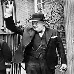 Winston Churchill giving his famous 'V' sign